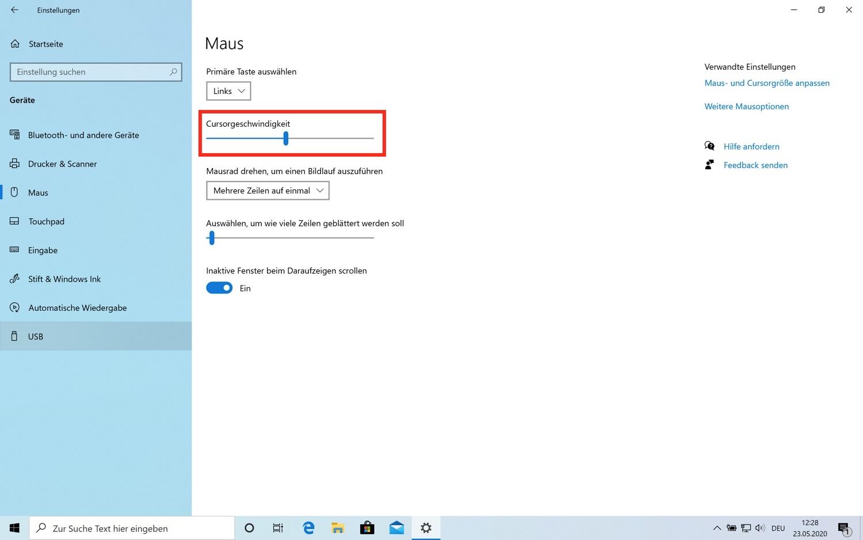 Mauseinstellungen im Windows 10 Mai Update