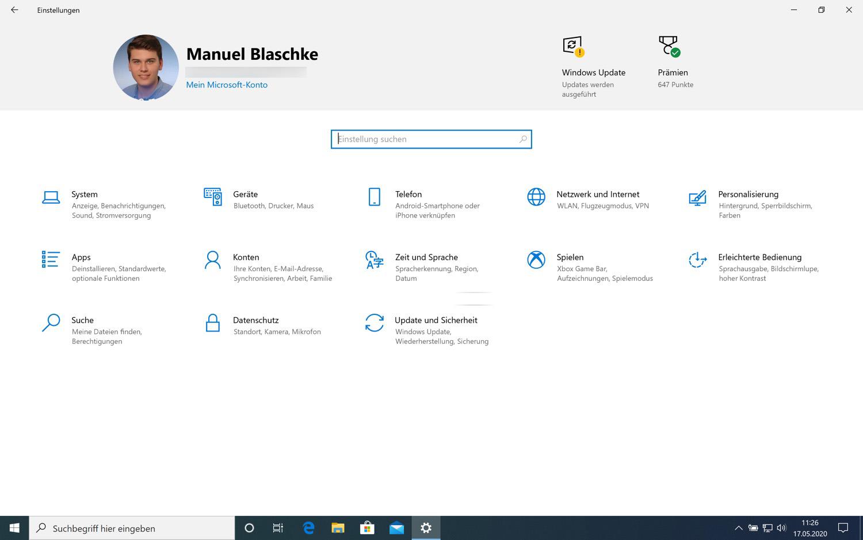 Die neue Startseite der Einstellungen in Windows 10