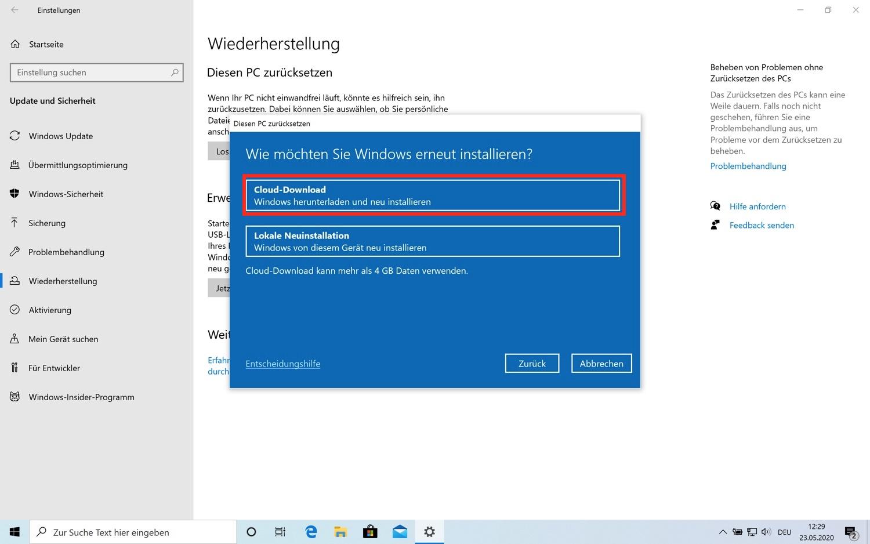 Cloud-Reset im Windows 10 Mai Update