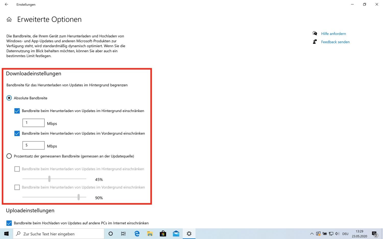 Windows Update Einstellungen im Windows 10 Mai Update