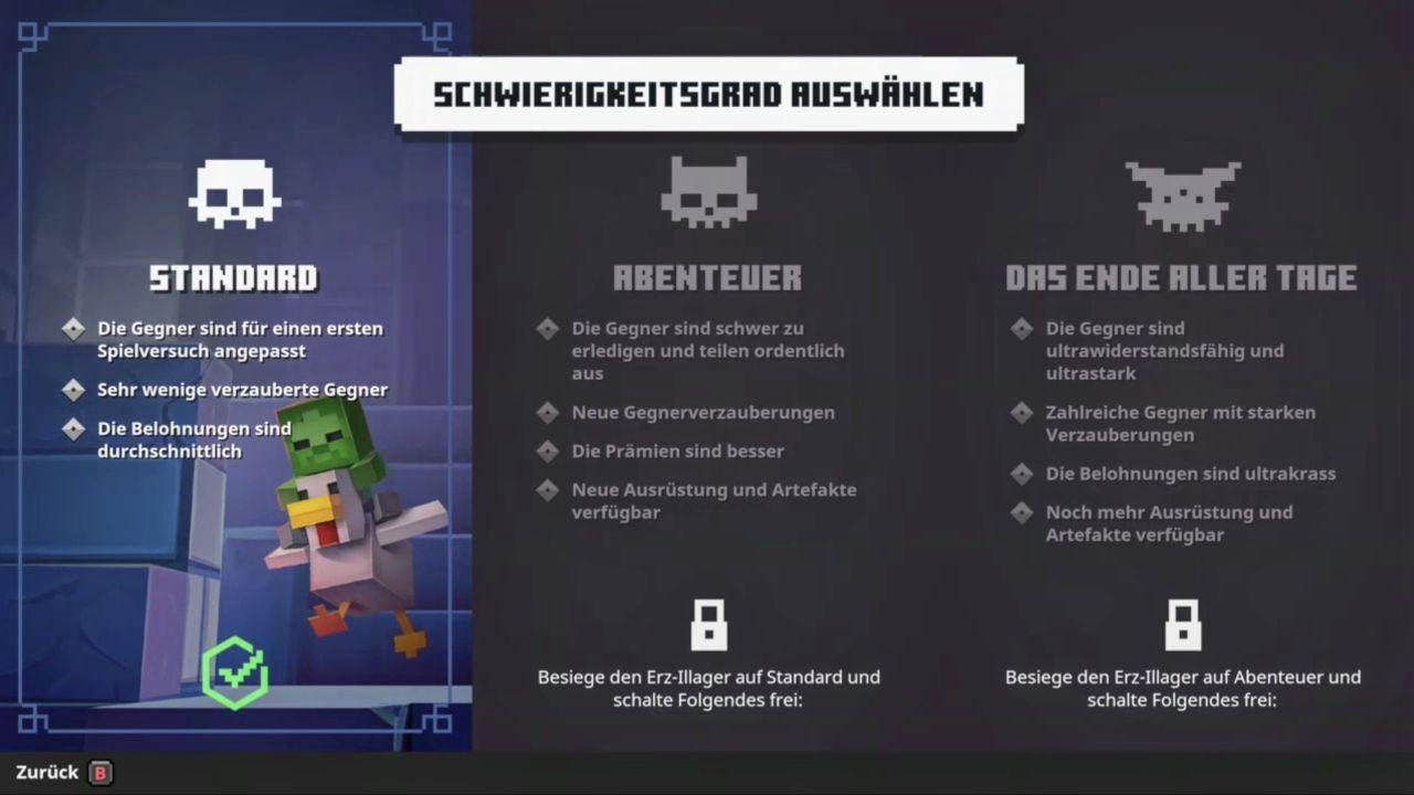 Schwierigkeitsgrad in Minecraft Dungeons
