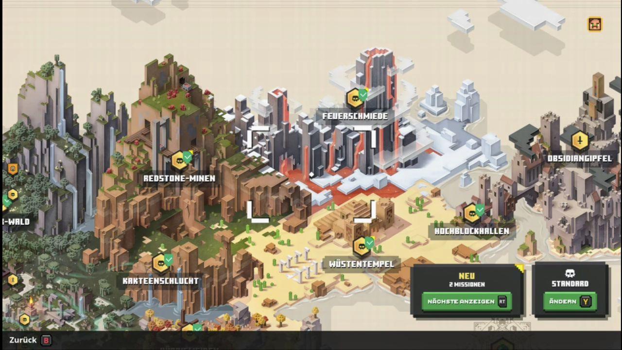 Die Startkarte von Minecraft Dungeons