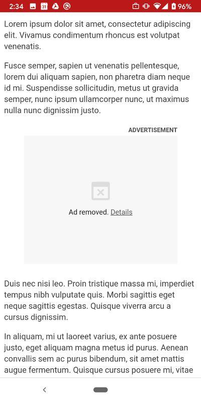 Meldung bei blockierter Werbung in Google Chrome