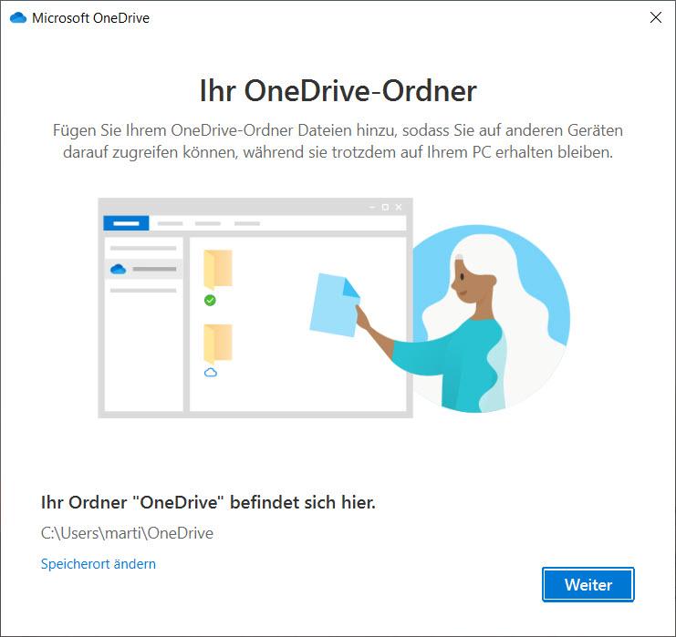 OneDrive unter Windows 10 einrichten - Ordner auswählen