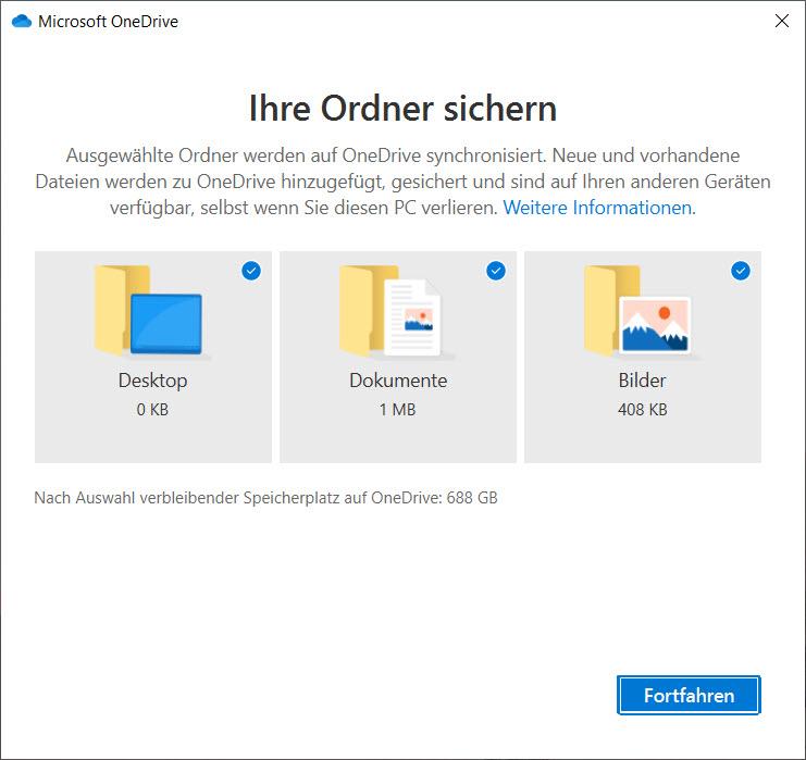 OneDrive unter Windows 10 einrichten - persönliche Bibliotheken sichern