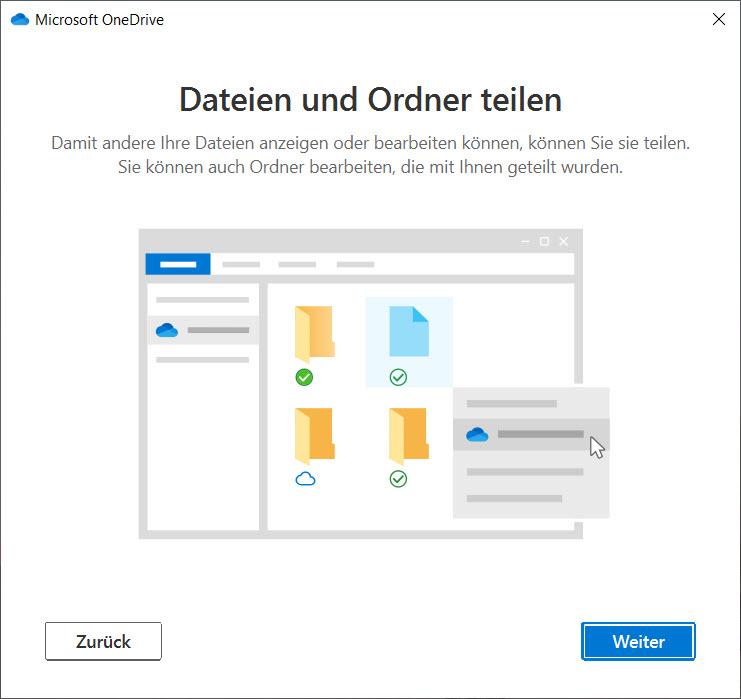 OneDrive unter Windows 10 einrichten - Teilen von Inhalten