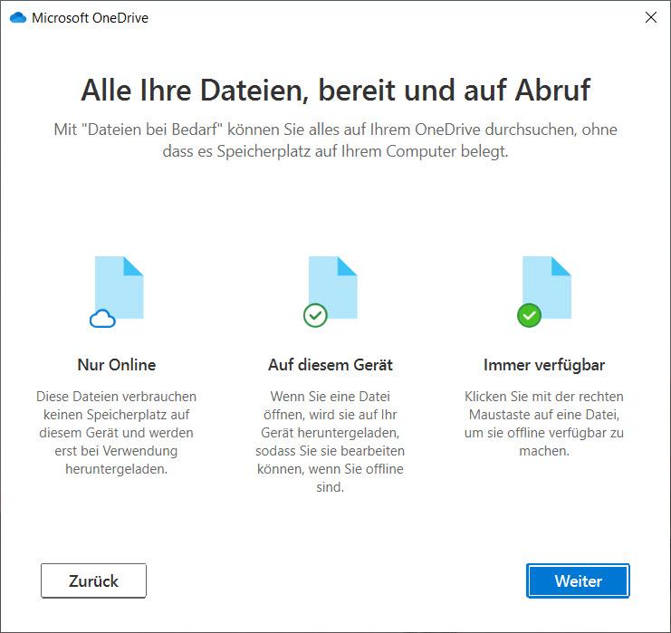 OneDrive unter Windows 10 einrichten - Erklärung der Platzhalter