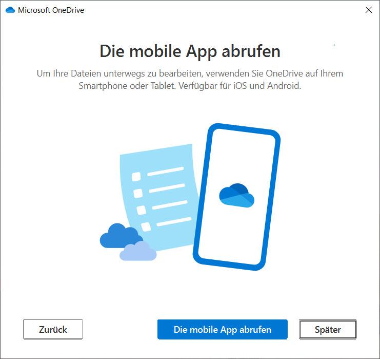 OneDrive unter Windows 10 einrichten - Wedrbung für die mobile App