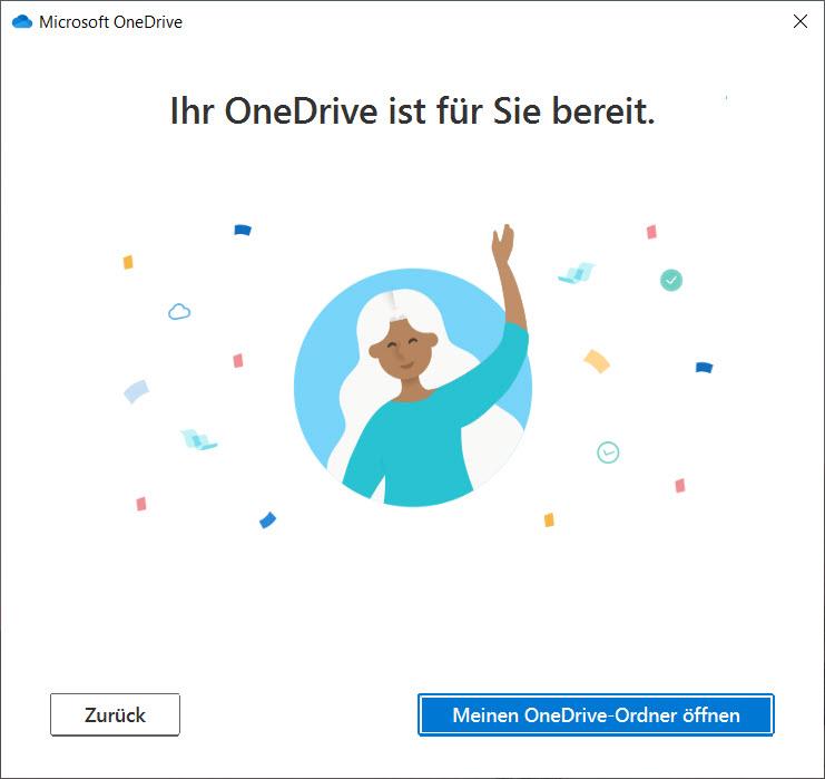 OneDrive unter Windows 10 einrichten - Einrichtung abgeschlossen