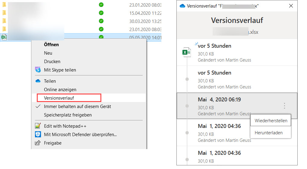 OneDrive Versionsverlauf
