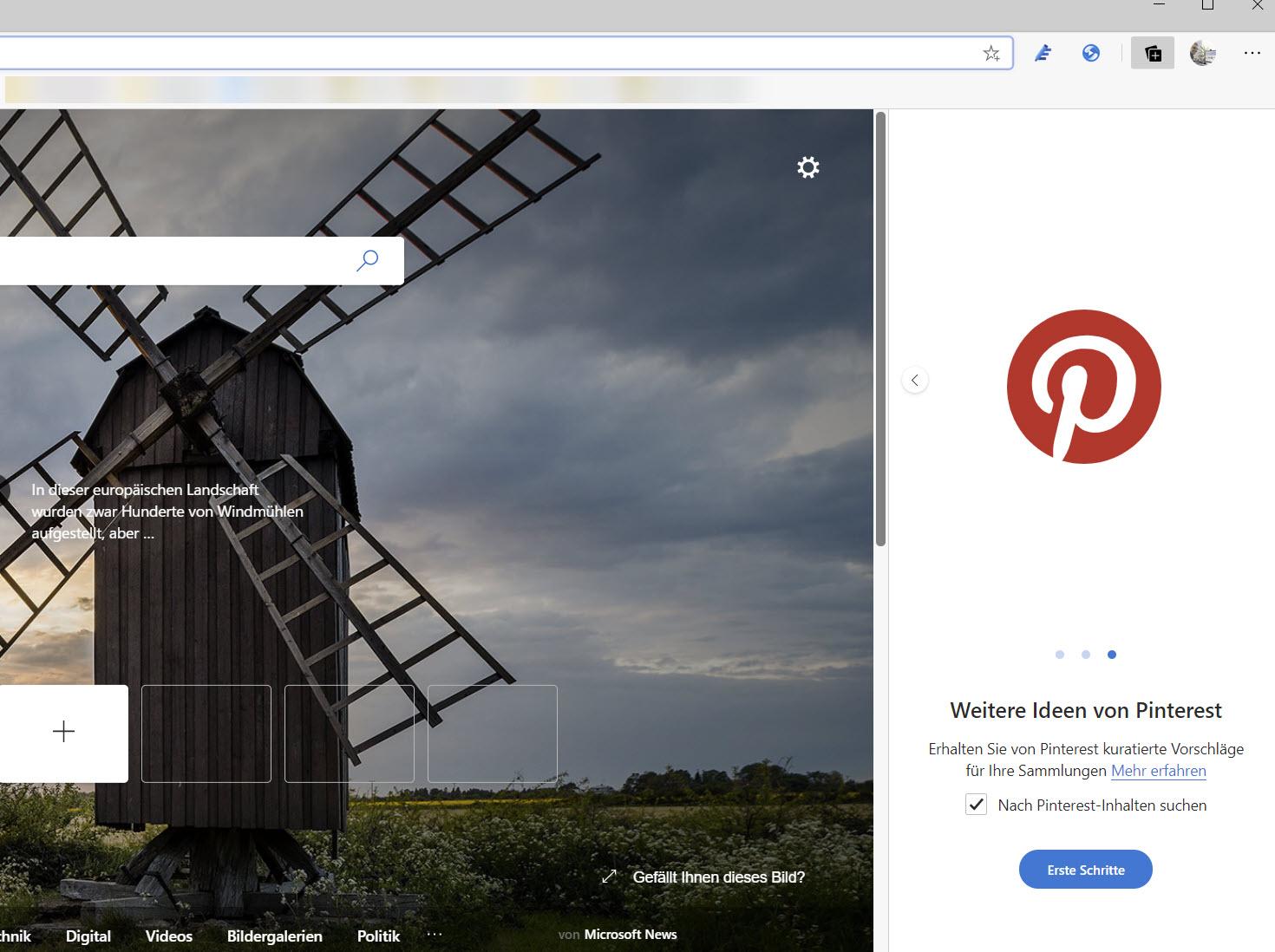Aktivierung der Pinterest-Integration in Microsoft Edge