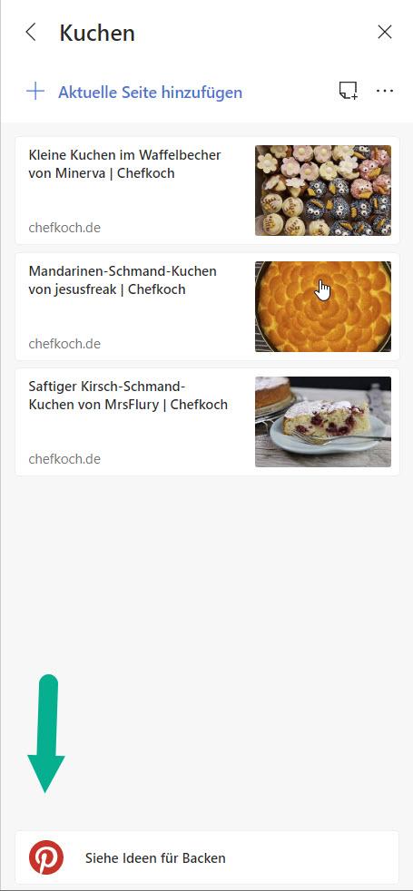 Pinterest Button in der Sidebar von Microsoft Edge