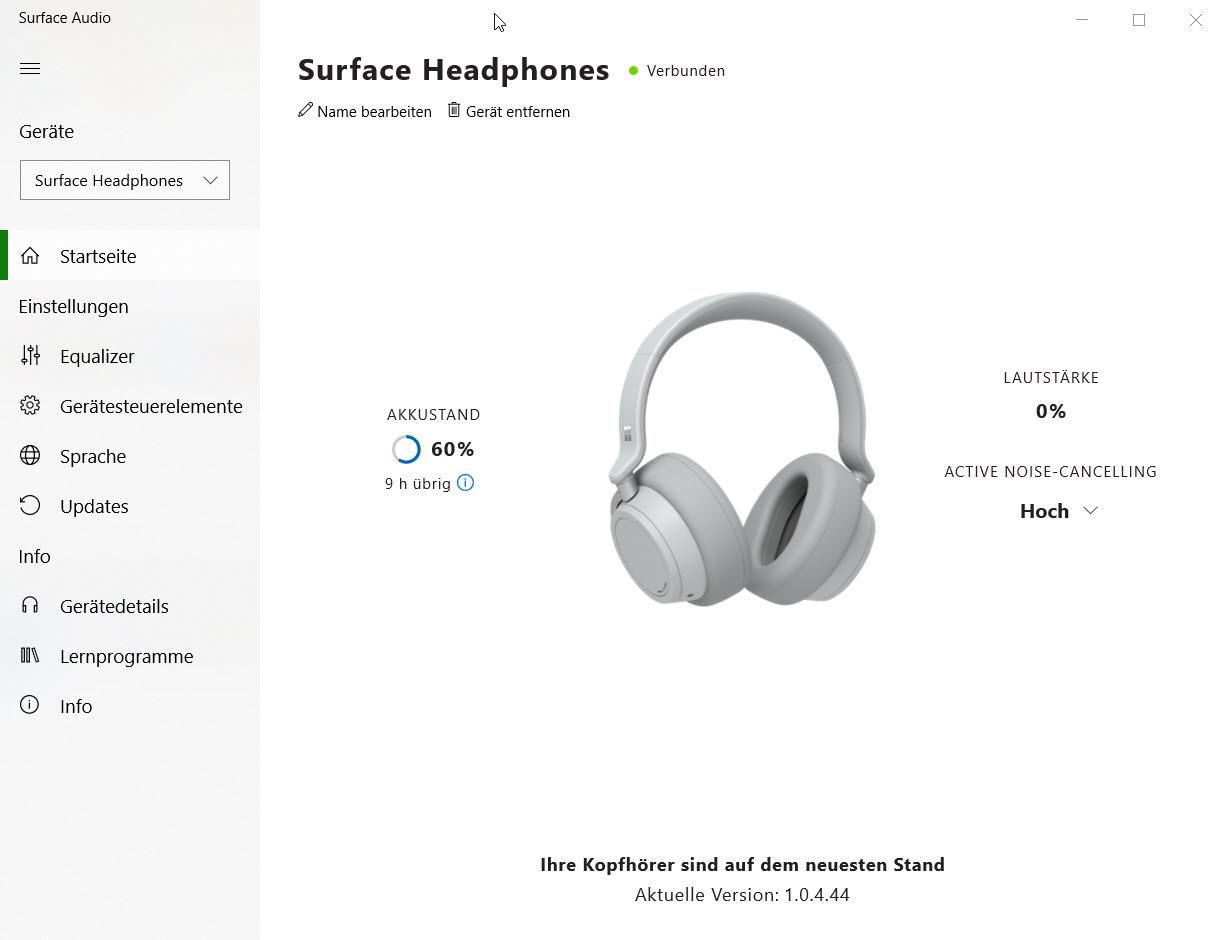 Surface Audio App für Windows 10