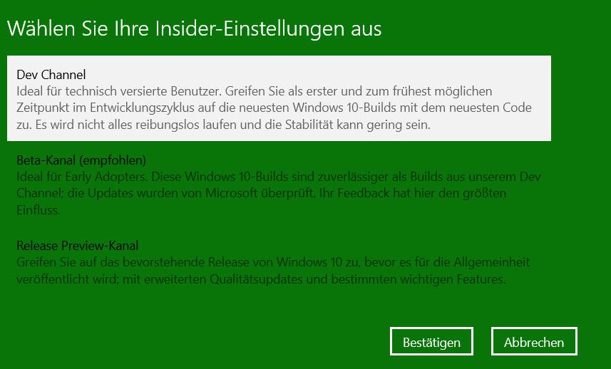Windows Insider Kanäle
