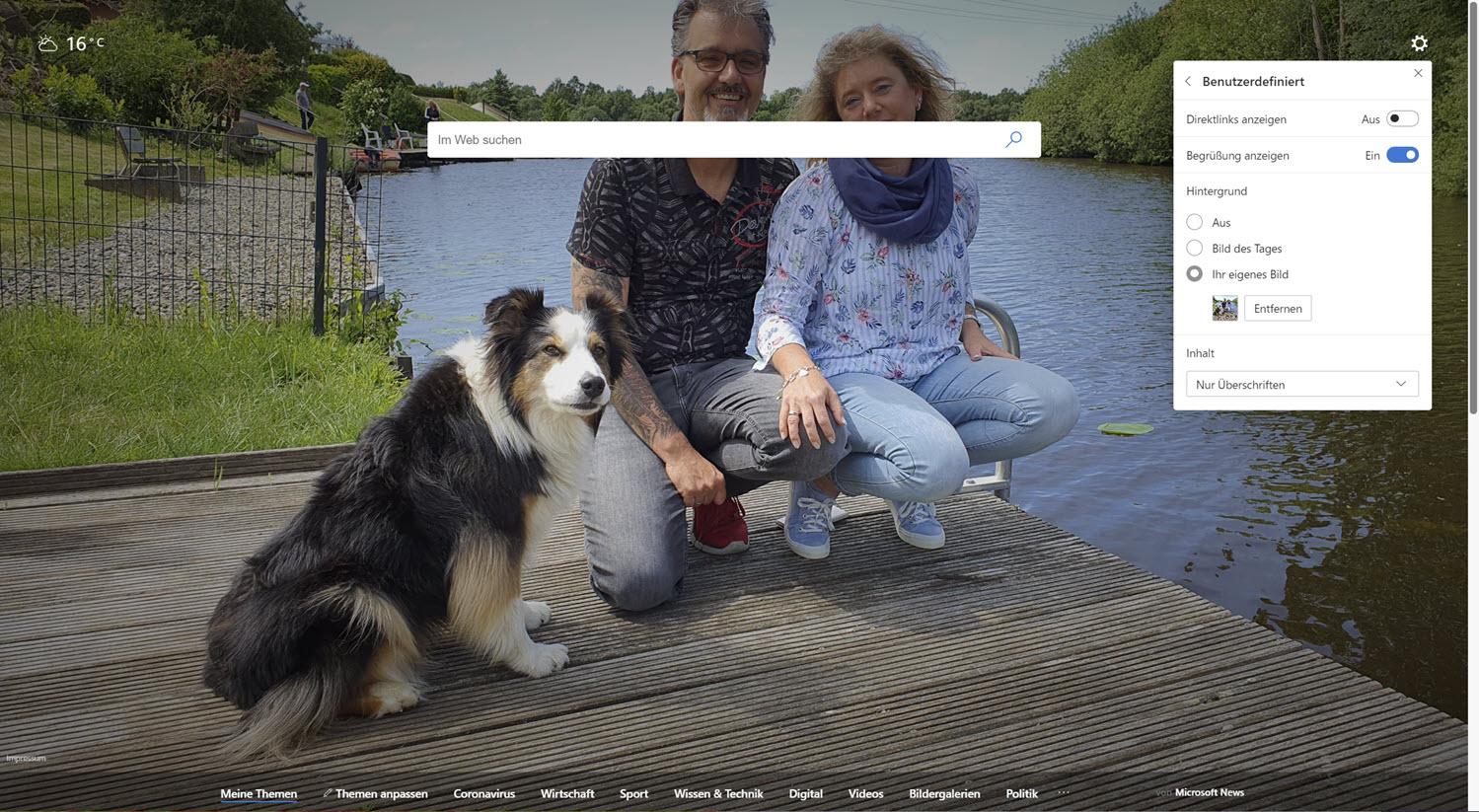 Microsoft Edge eigener Hintergrund