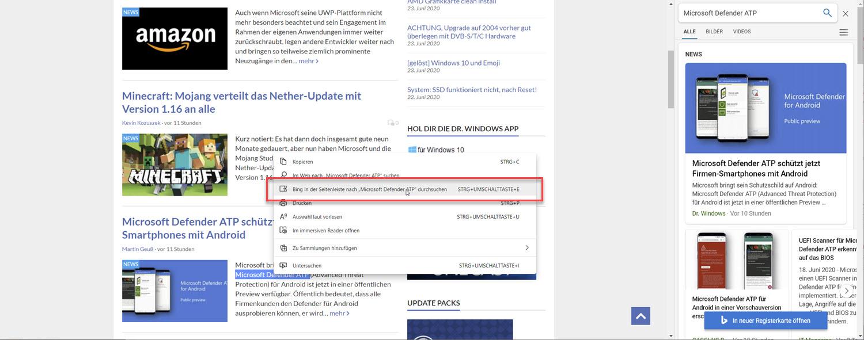 Microsoft Edge Sidebar Suche