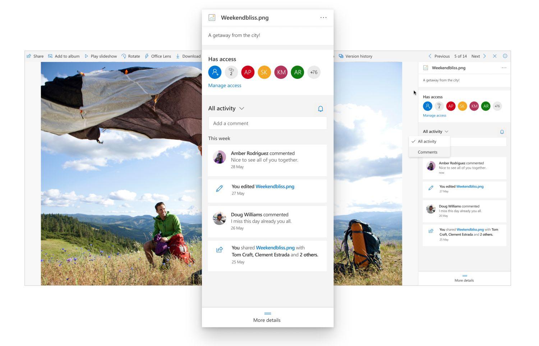 Detailansicht der Aktivitäten einer Datei in OneDrive