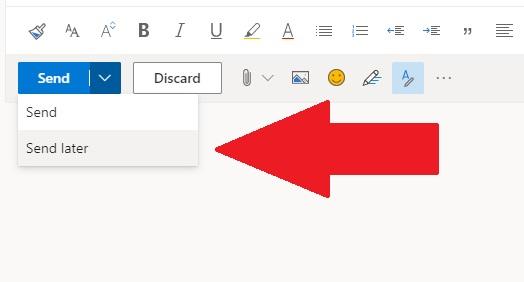 Zeitversetzter Versand einer E-Mail mit Outlook im Web