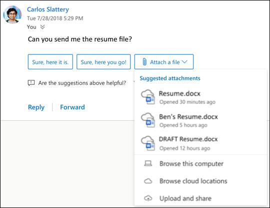 Vorgeschlagene Antworten in Outlook im Web
