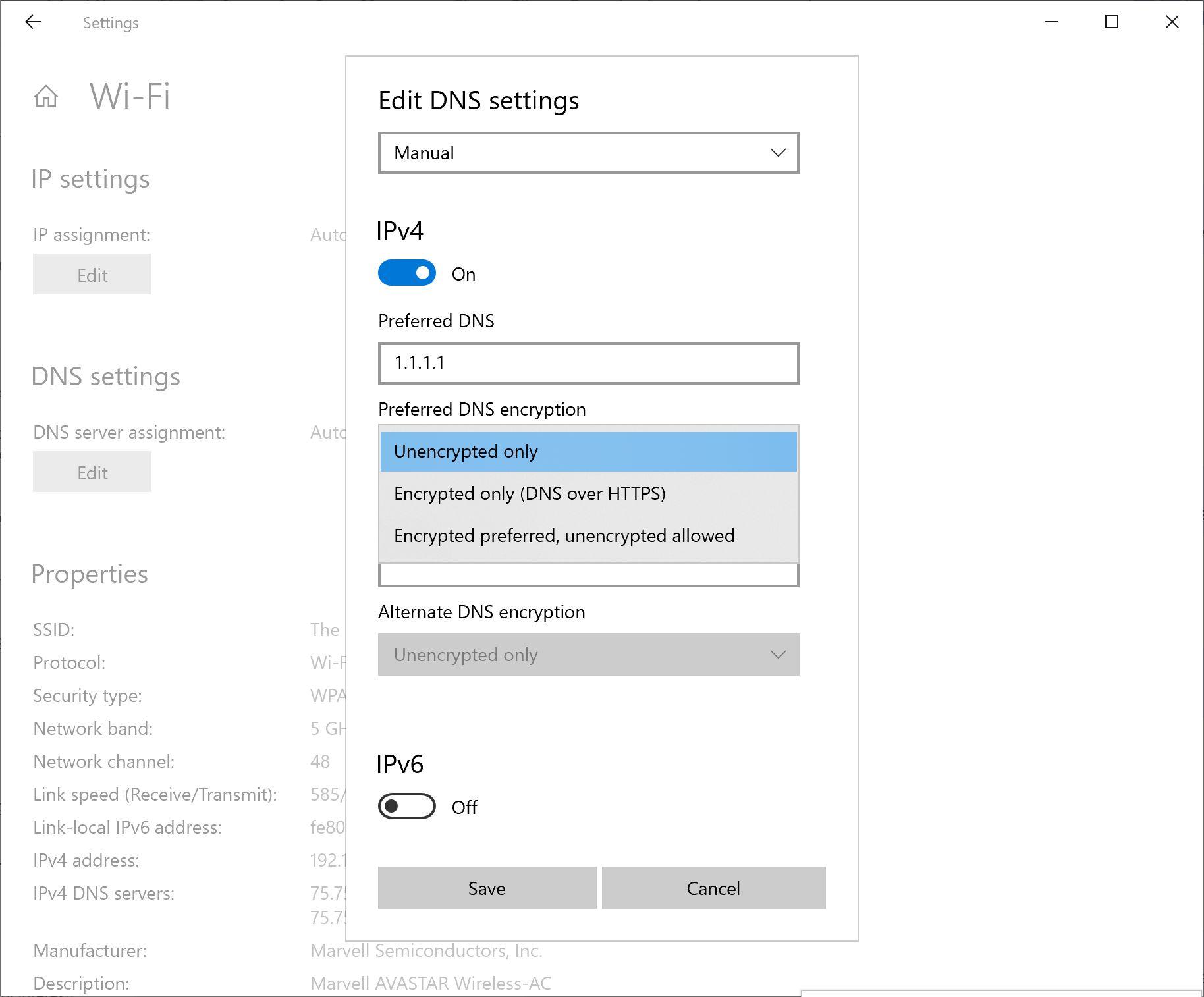 DNS-Einstellungen in Windows 10
