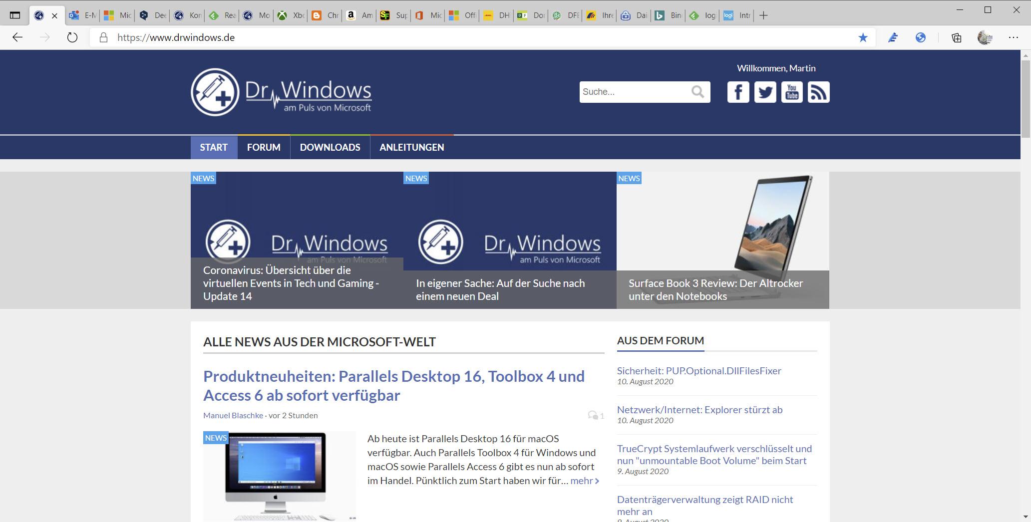 Microsoft Edge mit horizontaler Tab Leiste