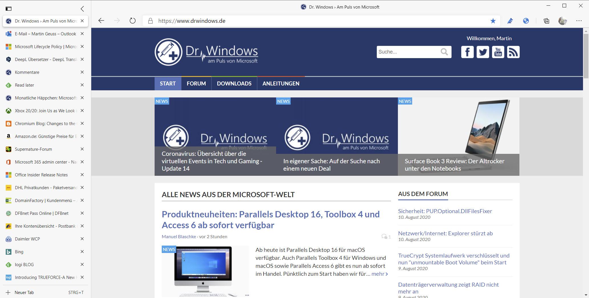 Microsoft Edge mit vertikaler Tab Leiste