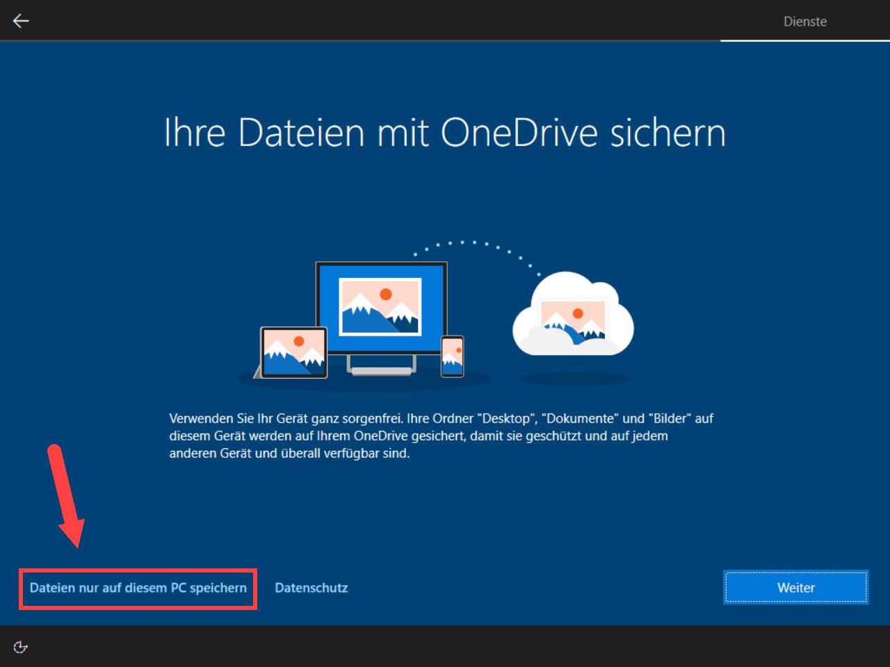 Dateischutz mit OneDrive