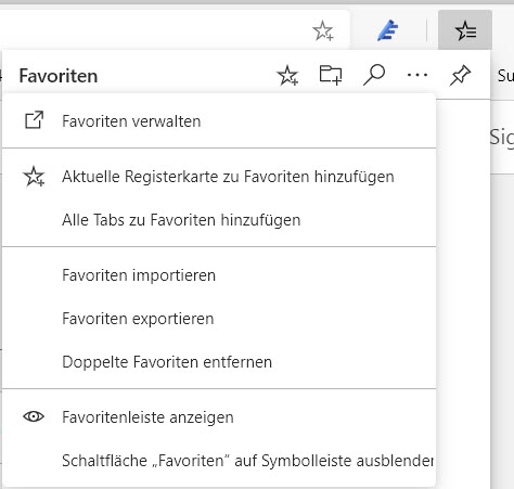 Favoriteneinstellungen in Microsoft Edge