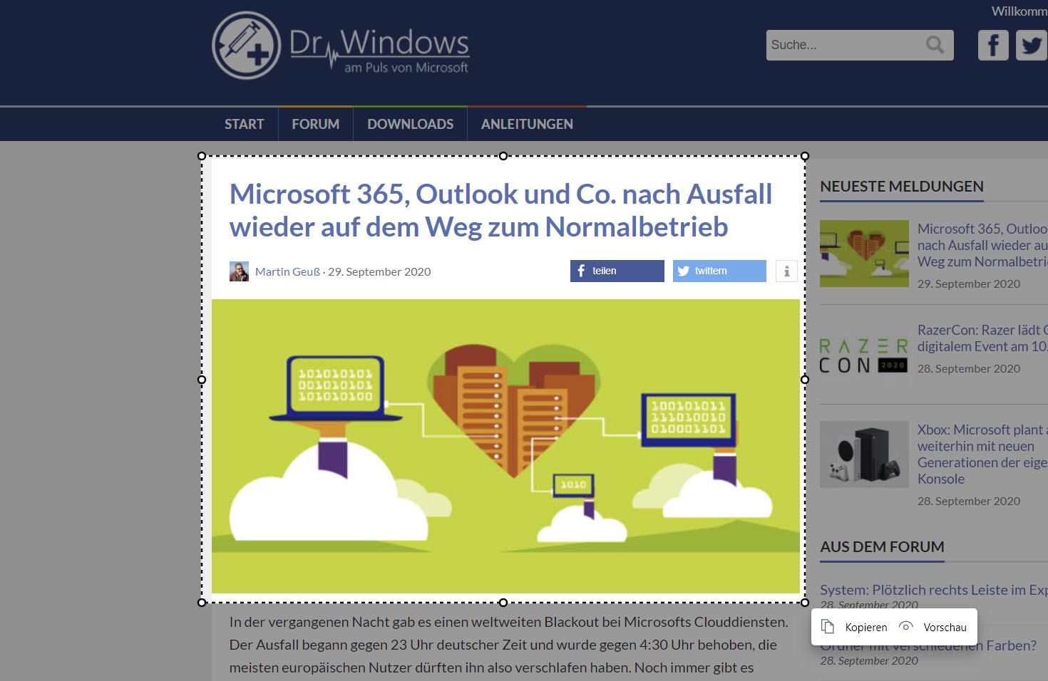 Microsoft Edge Screenshot Funktion
