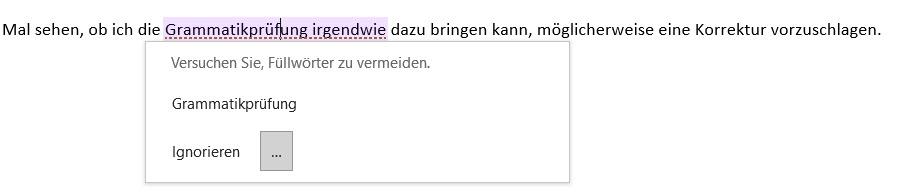 Outlook zeigt Grammatikfehler