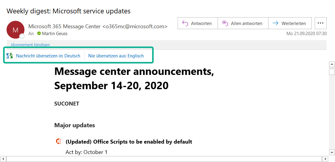 Microsoft Outlook Übersetzer