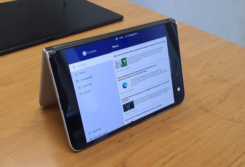 DrWindows App auf dem Surface Duo