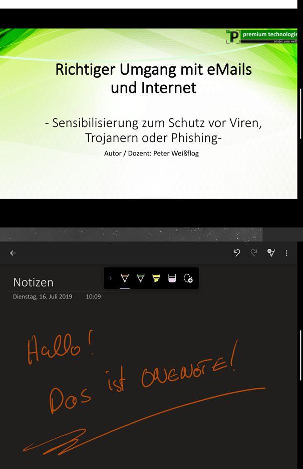 Surface Duo mit PowerPoint und OneNote