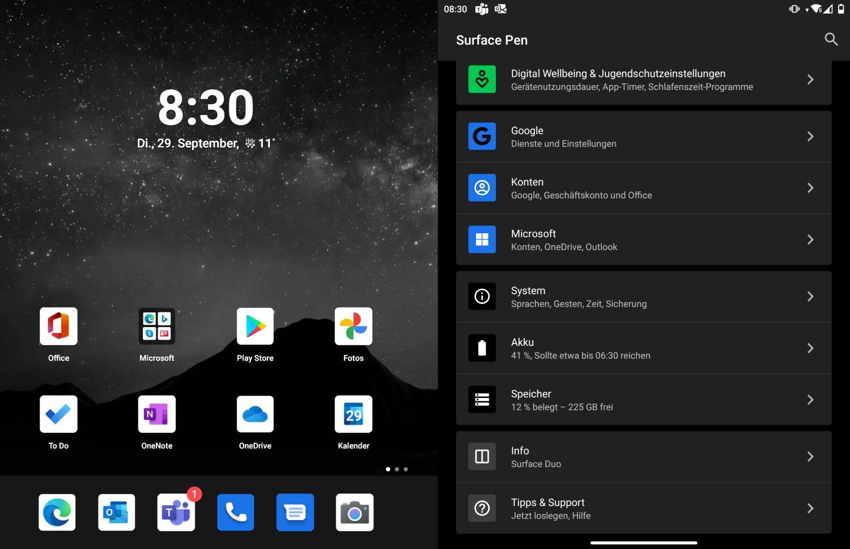 Surface Duo Startbildschirm