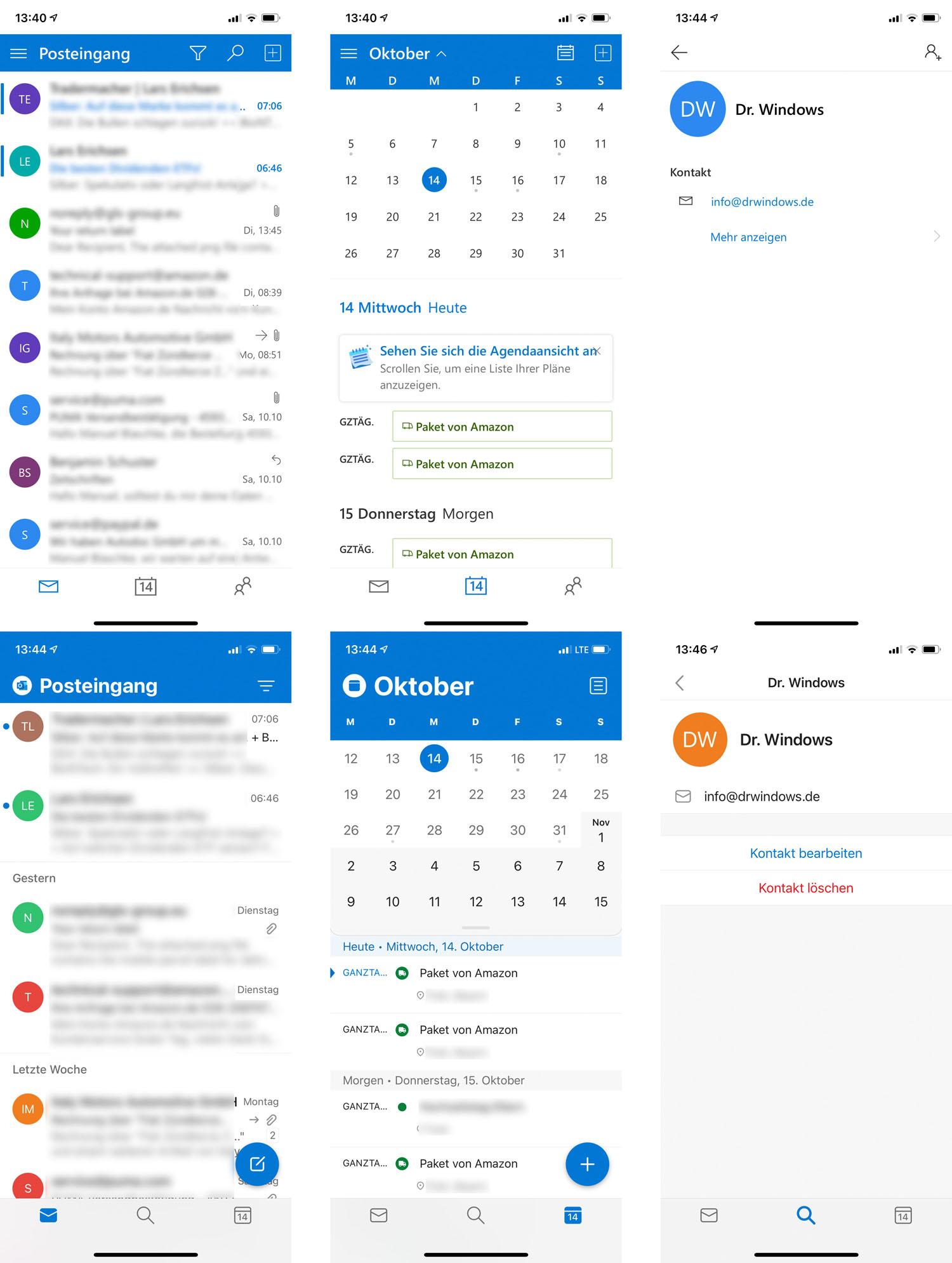 Outlook.com neue Mobilansicht