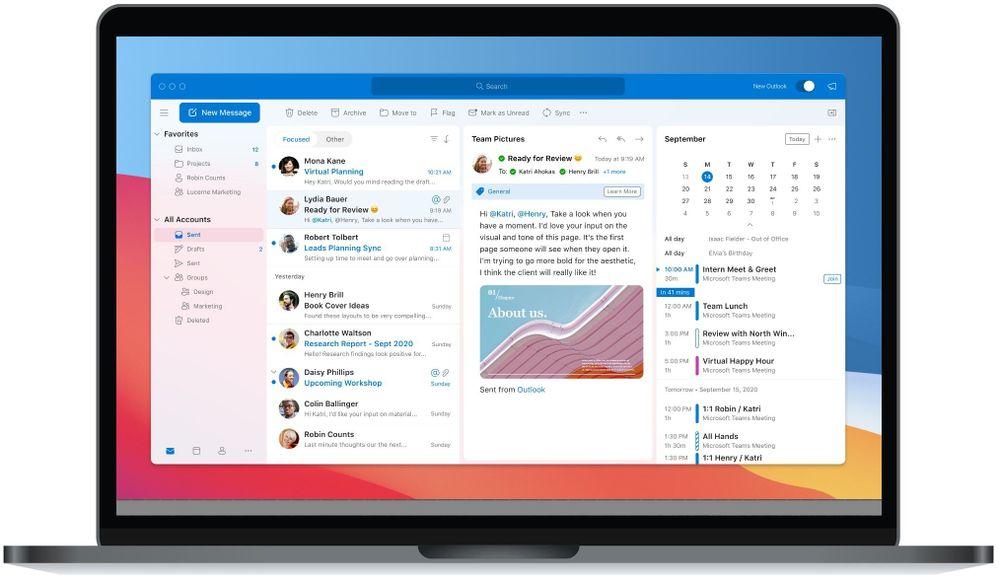 Outlook für macOS im neuen Design