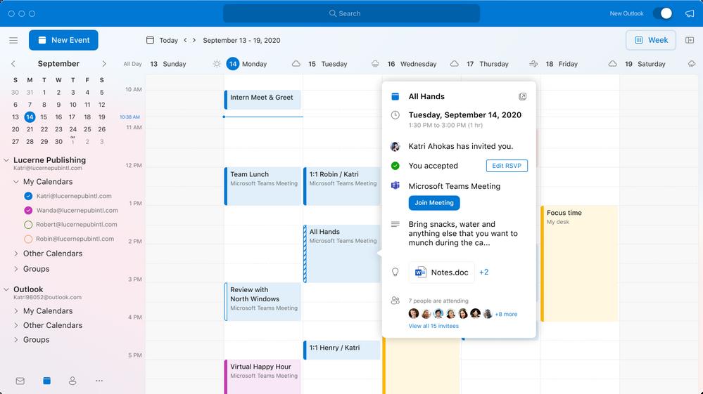 Outlook für macOS - neue Kalenderansicht