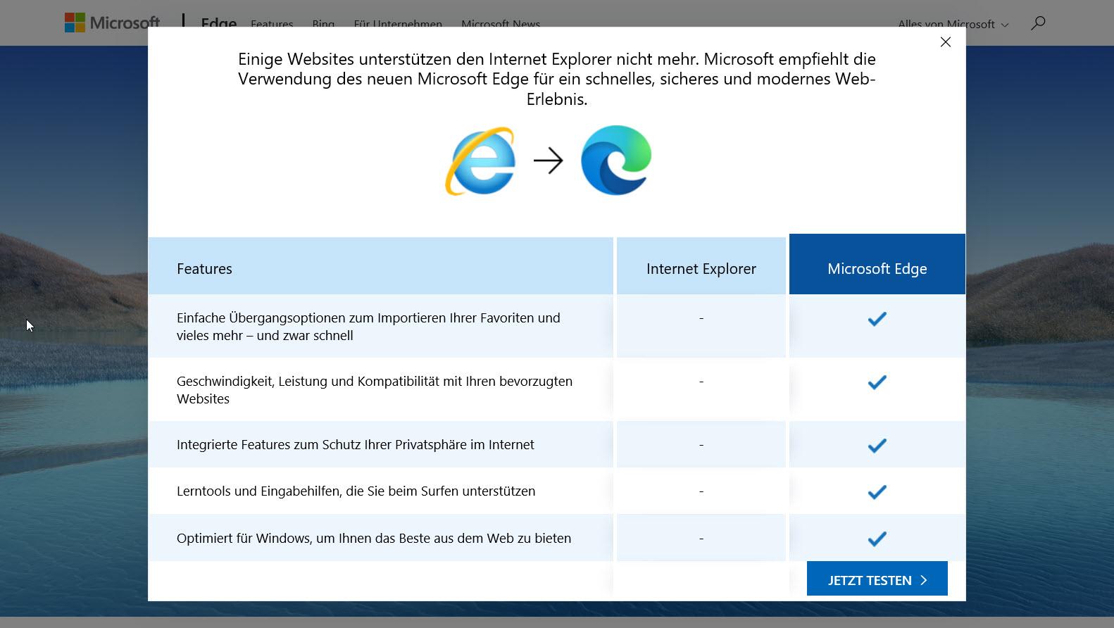 Hinweis auf den Internet Explorer in Microsoft Edge