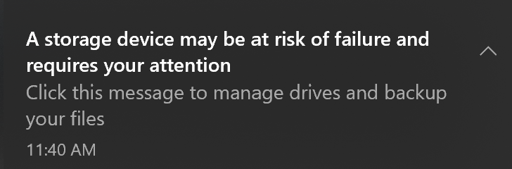 SSD Warnung in Windows 10