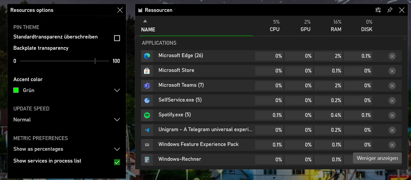 Xbox Game Bar Taskmanager