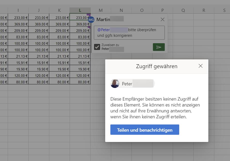 Aufgabe zuweisen in Excel