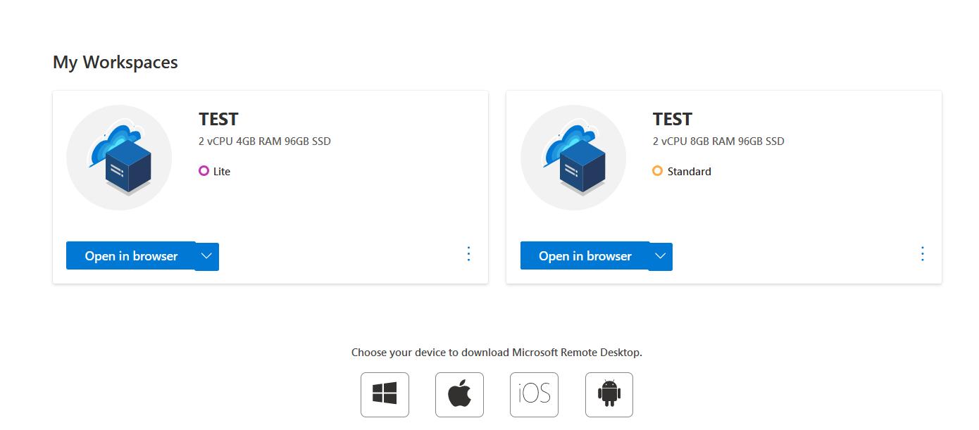 Screenshot Microsoft Cloud PC