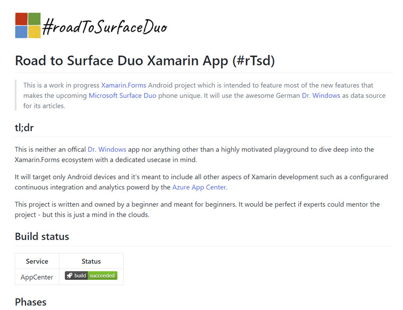 Road to Surface Duo Readme