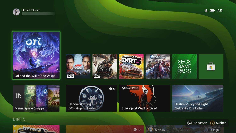Xbox Series S und X Dashboard