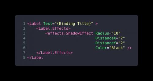 Code Snippet XAML Label Effekt