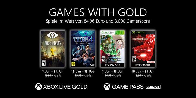 Xbox Games with Gold: Die kostenlosen Spiele im Januar 2021