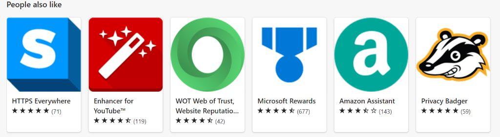 Microsoft Edge AddOn Store: Ähnliche AddOns