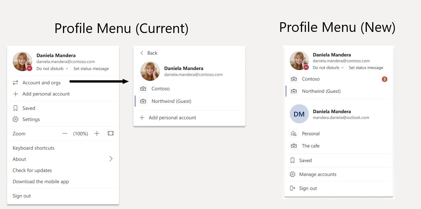 Das neue Menü von Microsoft Teams