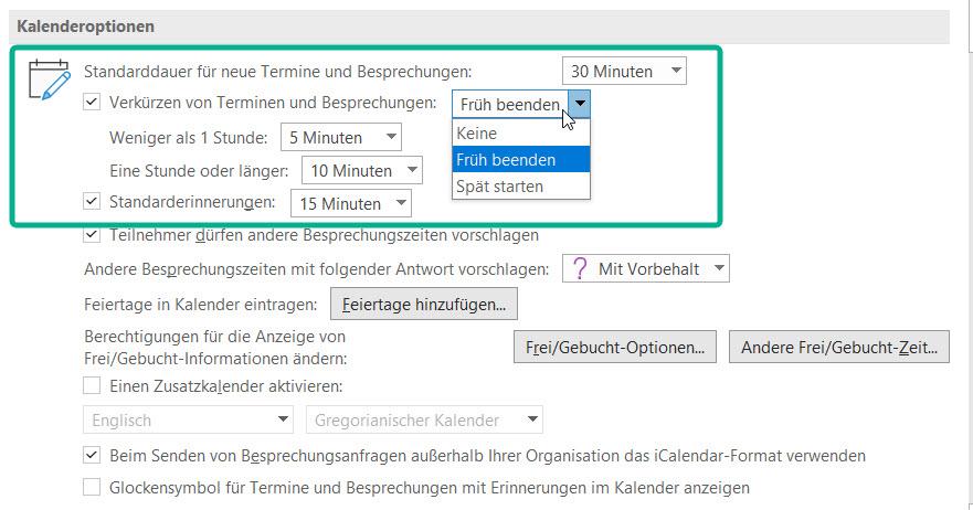 Neue Optionen in Outlook für entzerrte Terminkalender