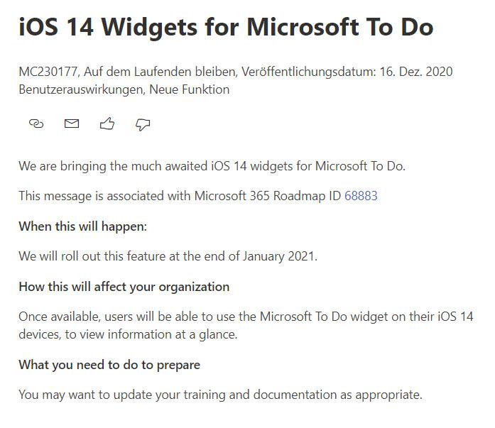 Microsoft Teams Widgets für iOS